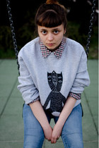 silver cat dzieńdobry blouse - brick red plaid cropp shirt