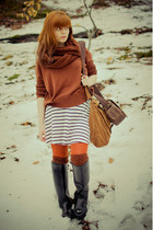 dark brown handmade scarf - black Cavalliero boots - white striped H&M dress