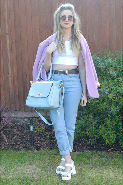 white ribbed crop Ebay top - pink thrifted coat - sky blue mom Missguided jeans