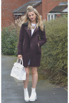 white Ebay boots - white Missguided dress - deep purple F&F coat