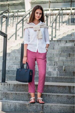 white Zara shirt - navy Zara bag - cream Zara sweatshirt - magenta Zara pants