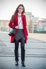 Black-pull-bear-boots-red-zara-coat-white-zara-shirt
