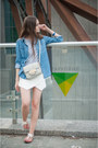 Blue-pull-bear-shirt-silver-h-m-bag-white-zara-shorts-white-zara-sandals