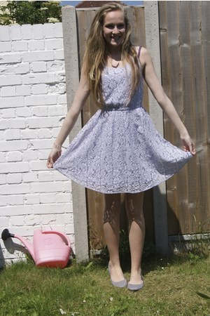 periwinkle lace H&M dress - silver H&M flats