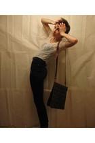 beige Zara top - black Talula pants - brown purse