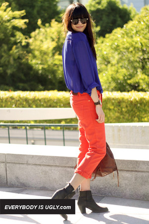 cobalt acne shirt - skinny zip rag &amp; bone jeans - colorblock Joie sweater