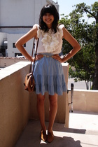 white ruffle Forever 21 blouse - brown cut-out oxfords thrifted shoes