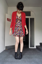red pocket cardigan American Apparel sweater - black floral romper thrifted