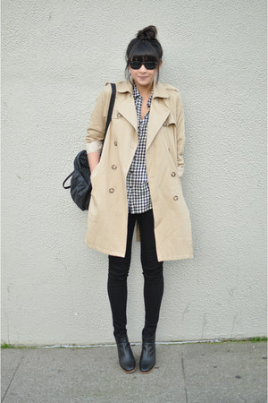 gignham Gap shirt - mars Rachel Comey boots - trench APC coat