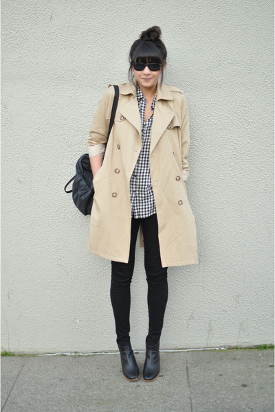 gignham Gap shirt - mars Rachel Comey boots - trench APC coat