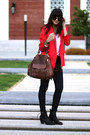Red-whyred-blazer-navy-item-denim-jeans-dark-brown-rebecca-minkoff-bag
