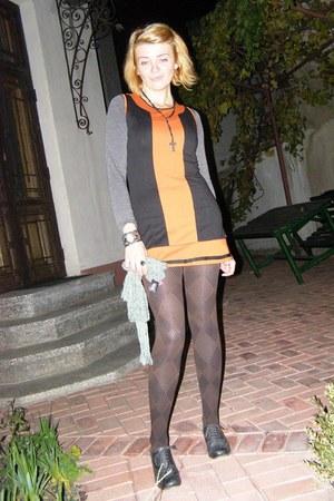 black Ilotti dress - dark gray leather blink shoes - black Alla Moda tights