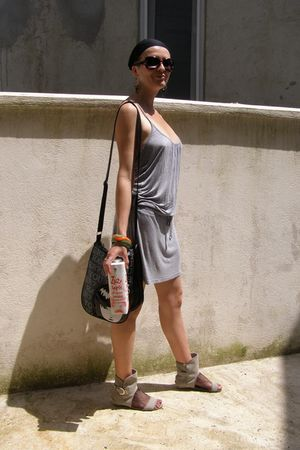 black leather emily the strange bag - gray shoes - gray H&amp;M dress