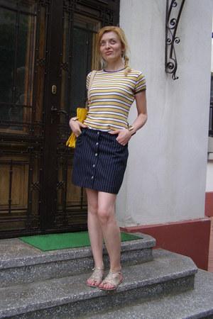 navy striped fishbone skirt - cream Dorothy Perkins sandals