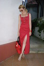 Red-acj-dress-red-purse-gold-aviator-terranova-sunglasses
