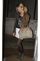 olive green leather boots - light brown leather jacket - white leather skirt
