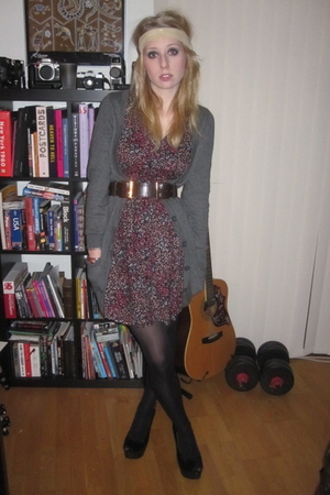 black Office shoes - red H&M dress - gray H&M cardigan - beige Claires accessori