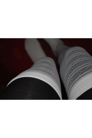 white socks - black leggings - white