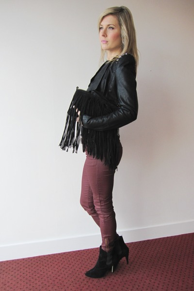 burgundy H&amp;M pants - black Primark boots - fringe Zara bag