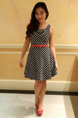 black polka dot Charlotte Russe dress - red pumps