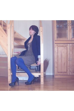 blue BikBok blazer - black bullboxer shoes - blue H&amp;M tights - brown Only dress