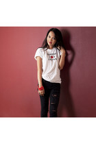 black jeans - white Ray of Light shirt - ruby red bracelet