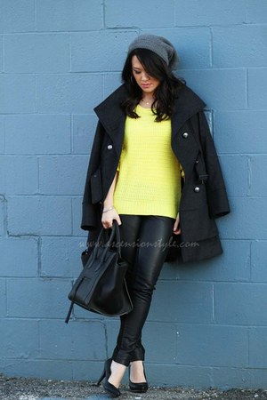 black phantom Celine bag - charcoal gray Guess coat - yellow Gap sweater