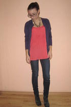 orange Stradivarius top - purple Calliope cardigan