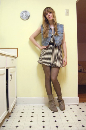 thrifted vest - Johnny Martin dress - Ebay belt - tights - 8020 boots
