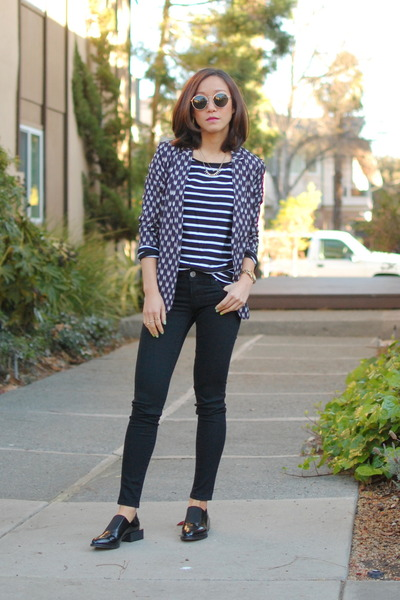 H&M blazer - Zara shoes - madewell jeans - ray-ban sunglasses