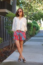 Equipment shirt - asos shorts - Karen Walker sunglasses