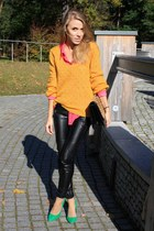 green Zara heels - beige Zara coat - light orange H&M sweater