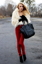 ivory new look jacket - brick red second hand leggings