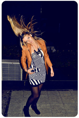 white striped Jane Norman dress - tawny gorgeous Outerwear collection blazer