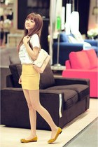 yellow skirt - white shirt - light yellow bag - yellow flats