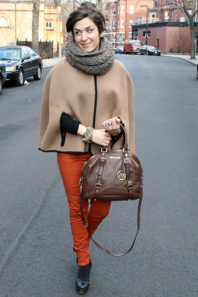 Zara pants - Forever21 shoes - Forever21 scarf - Michael Kors bag - JCrew cape