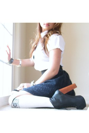 lita Jeffrey Campbell boots - NY and Co shirt - delias socks - delias skirt