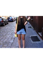 light yellow New Yorker bag - black H&M shirt - blue New Yorker shorts