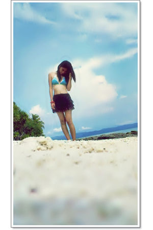 blue sun kiss swimwear - black random brand skirt - red from a boutique bracelet