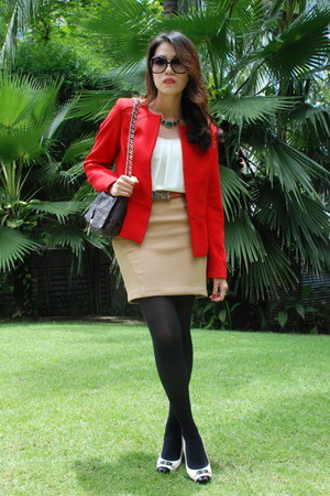 white Bally shoes - red Anne Klein blazer - dark brown Charriol bag