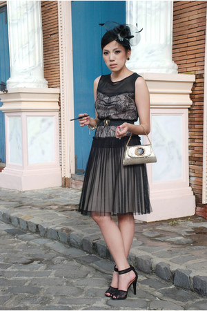 black Mango dress - gold Aranaz bag - black Mango heels