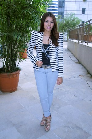 stripes Zara blazer - Zara blouse