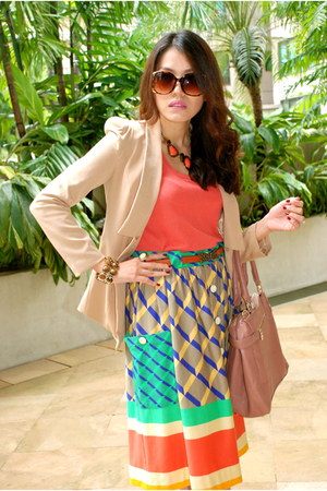 Mango skirt - coral Mango blouse - brown Topshop belt - off white Oro Nero heels