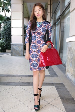 ruby red alma Louis Vuitton bag - navy printed Mango dress