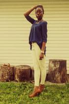tawny penny loafers H&M heels - navy H&M dress - tawny skinny H&M belt