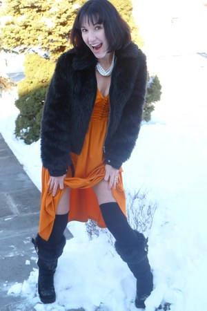 black fur trim Juicy boots - carrot orange H&M dress - black Express jacket - iv