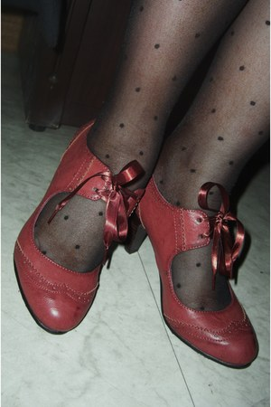 crimson sugar shoes - black polka dot stockings