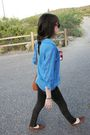 Blue-blouse-brown-purse-black-pants