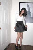 white hollister shirt - black Spring Street skirt - black Charlotte Russe shoes