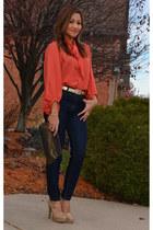 button up blouse - high waist pants - high heel loafers